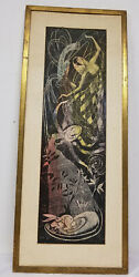 Antique Mcm Mid Century Abstract Fantasy Colored Pencil Etching Signed Sybil