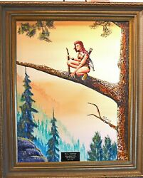 Original Oil Painting Guardian 24 X 30 Fantasy Bow Arrow Woman In Woods