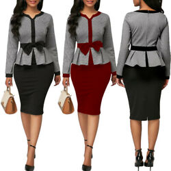 Womens Casual Dress Elegant Office Wear Midi Skirt Evening Cocktail Vestido Bow