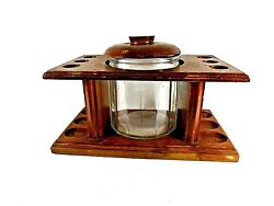 Vintage 1960s 6 Pipe Rounded Wood Stand W/ Ribbed Clear Glass Humidor