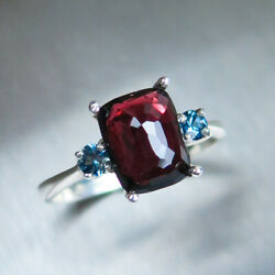 2.4cts Natural Red Spinel And Sapphires 925 Silver 9ct 14k 18k Gold Ring
