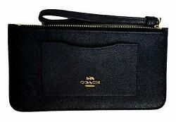 Coach Women#x27;s Crossgrain Leather Zip Top Wristlet Wallet Black $65.00