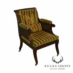 Baker Stately Homes Collection Regency Style Mahogany Cane Armchair