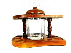 Vintage 1960s 6 Pipe Rounded Art Deco Wood Stand W/ Clear Glass Humidor