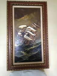 Large Oil Painting Of Clipper Ship On Stormy Sea Framed And Signed By Artist.