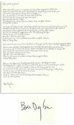 Bob Dylan Signed Handwritten Lyrics for Like a Rolling Stone. Dylan Manager COA.