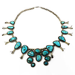 Nyjewel Large Antique Sterling Silver Navajo Squash Blossom Turquoise Necklace
