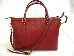 Gucci Red GG Guccissima Leather Satchel Crossbody with Receipt Handbag New