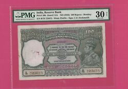 India -p-20 100 Rs Kgvi Nd1943 Pmg 30 Front Profile