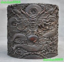 Old Chinese Palace Rosewood Wood Hand Carved Dragon Statue Brush Pot Pencil Vase