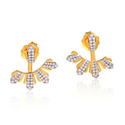 18kt Solid Yellow Gold 1.04ct Pave Diamond Ear Jacket Jewelry Gift For Girls
