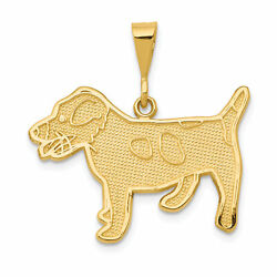 14k Yellow Gold Textured Jack Russell Terrier Dog Pendant 28x25mm  2.54gr