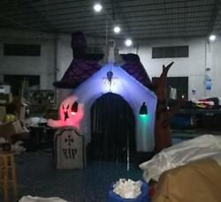 10ft New Halloween Inflatable Haunted House With Led Lights For Decoration Y