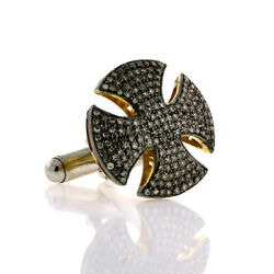 20 Mm Cross Cuff Link Finding 1.33 Ct Diamond Sterling Silver 14 Kt Gold Jewelry