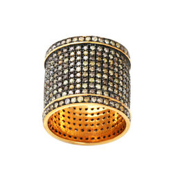 3.93ct Pave Diamond Band Ring .925 Sterling Silver Vintage Look Jewelry