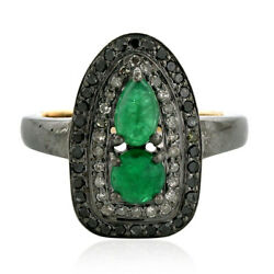 Memorial Day Sale Cocktail Ring Emerald Diamond Silver 18k Gold Jewelry Tng-10-s