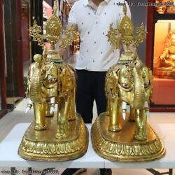 Tibet Buddhism Red Copper Gold Gilt Auspicious Lucky Peace Elephant Statue Pair