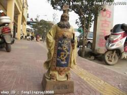 30 Chinese Wucai Porcelain First Emperor Qinshihuang Statue