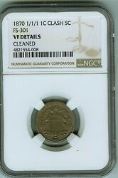 Rare Ngc Vf Details 1870 Fs-301 Shield Nickel Clash With Indian Cent