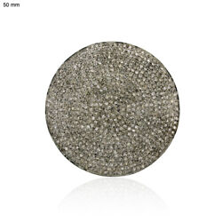5.3 Ct Pave Diamond 925 Sterling Silver Disc Spacer Finding Vintage Look Jewelry