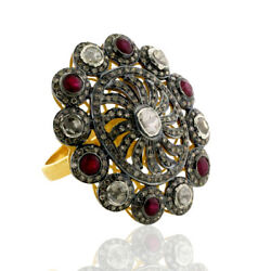 Ruby Diamond 18 K Gold Cocktail Ring 925 Sterling Silver Fashion Jewelry