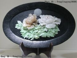Chinese Art Deco Sculpture Natural Dushan Jade Bloomy Peony Flower Tray Plate