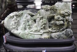 Chinese Dushan Jade Eight Immortals Water From A Mountain Landscape Statue