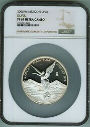 Ngc Proof 69 Ultra Cameo 2006 Mexico Libertad 5 Onza--rare Tied Finest Known