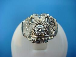 14k Gold Vintage Heavy Masonic Ring With 0.45ct Diamond,14.1 Grams, Size 7.5