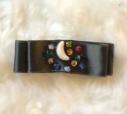 Dog Baby Puppy Bow - Multi color moon stars on charcoal high quality satin s xs  $6.25