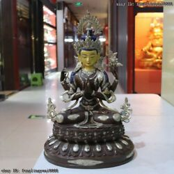 Old Tibet Buddhaism Temple Red Copper Four Arms Kwan Yin Guan Yin Buddha Statue
