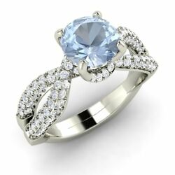 Certified 1.53 Ctw Real Aquamarine And G/si Diamond Engagement Ring 14k White Gold