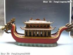 100 Chinese Royal 100 Pure Bronze Copper Handwork Cloisonne Dragon Boat Statue