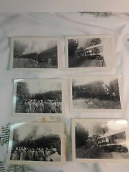 Lot Of 33 Train Wreck Old Black And White Photo Photographs