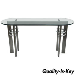 Design Institute Of America Dia Brushed Metal Chrome And Glass Console Sofa Table