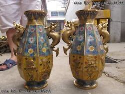 100 Bronze Cloisonne Royal Palace Lucky Eight Treasures Two Ears Pot Vase Pair