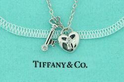 And Co. .950 Platinum Diamond Heart And Key Necklace W/ Link Chain 18