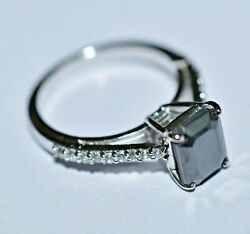 Princess Engagement Wedding Diamond Black Ring Certified Solitaire Aaa 2.27 Ct