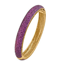 18k Gold Sterling Silver Pave Ruby Bangle Wedding Party Wear Fashion Jewelry