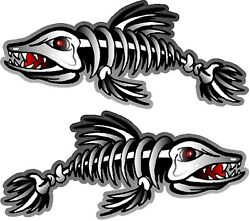 2 - 15.5 X 36 Skeleton Fish Decals Stickers Boat Graphics Ice Fishing Trailer