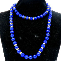 Nyjewel Black Starr And Frost 14k Gold Lapis Lazuli Necklace With Original Box