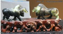 Chinese Art Sculpture Natural Dushan Jade Kingneed Bull Ox Oxen Fengshui Statue