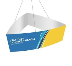 Curved Triangle Hanging Sign, 12' X 4' Tradeshow Display Fabric Ceiling Banner