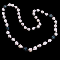 18k White Gold 11.62ct Diamond Pearl Silver Designer Beaded Necklace Jewelry