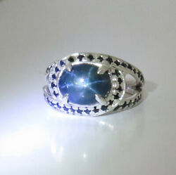 4.95ct Natural Blue Star Sapphire 925 Silver/9ct 14k 18k Gold Unisex Ring