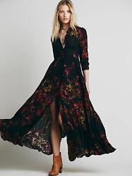 Free People Black After The Storm Floral Print Boho Maxi Shirt Dress Gown 8