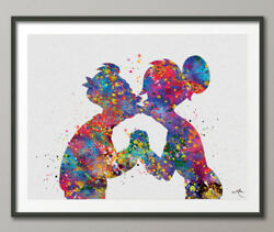Fry and Leela Kiss Love Watercolor Print Valentines Day Gift Dorm Decor Geek Art