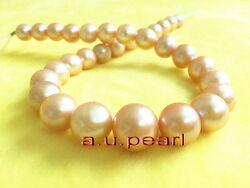 Aaaaa 1713-16mm Real Natural Round South Sea Gold Pink Pearl Necklace 14k