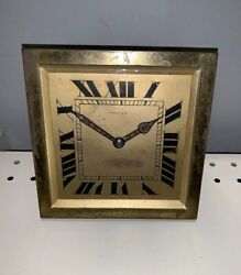 And Co Hour Antique Art Deco French Brass Mantle Desk Top Clock Works