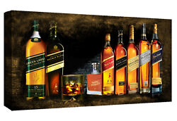 Johnnie Walker Whiskey Bottles Cotton Canvas Wall Art Picture Print - All Sizes